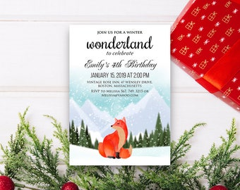 Woodland Fox Birthday Invitation Winter Birthday Fox Invitation Printable Baby or Kids Birthday Party Invite Watercolor Forest Animal Invite