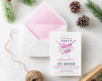 Watercolor Pink Heart 21st Birthday Valentine Invitations Love Birthday Invites Girls February Birthday Printed Invitations Valentine Arrow