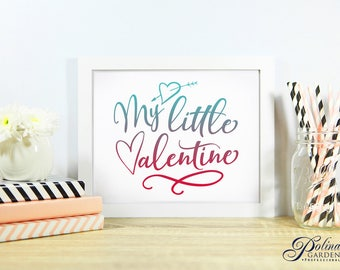 Valentines Day Wall Art My Little Valentine Printable Art Love Sign Quote Art Hearts Sign Blue and Red Nursery Wall Decor Digital Download
