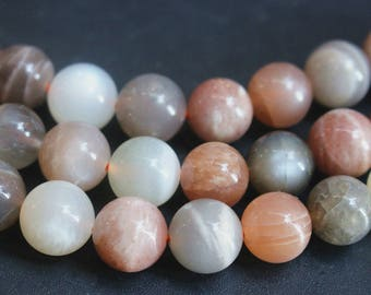 6mm 8mm 10mm 12mm Natural Mixed Color Moonstone Smooth And Round Beads , 15 inches 1 strand