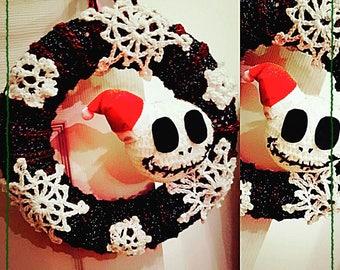 Jack skelington inspired wreath. Crochet