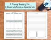 """Grocery List and Meal Planner: Fits Mini Happy Disc Planner Insert 7""""x4.63"""""""