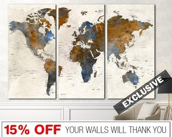 World Map, Exclusive World Map, Painting World Map, World Map Canvas, World Map Abstract, Abstract World Map, Unique World Map, Map Canvas