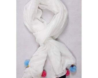 Foulourd scarf/shawl with tassels