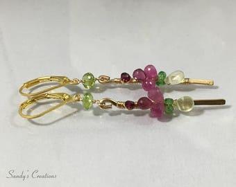 14 K Goldfill Gemstone Linear earrings