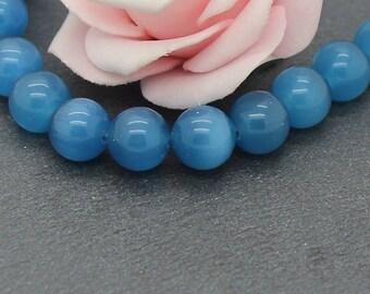 10 round cat eye beads 10 mm blue PV113