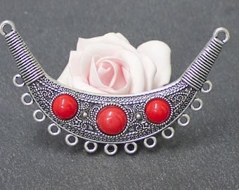 A great connector pendant ethnic style antique silver and Red resin 91 x 57 mm COA181