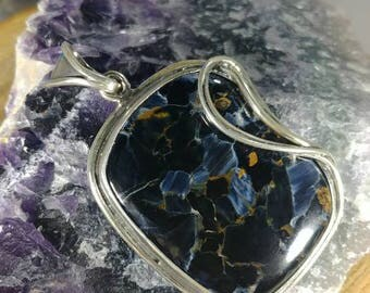 Ultra rare pietersite gemmy blue cats eye like stone / Pietersite Pendant With sterling Silver all handmade / Pietersite Cabochon Specimen