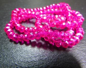 set of 30 iridescent 4 mm Fuchsia Crystal beads