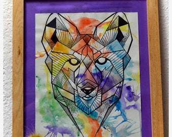 Geometric Fox watercolor painting