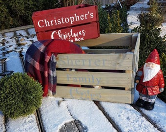 Christmas eve crates/boxes • Wooden box/crate • custom • personalized • Christmas tradition •