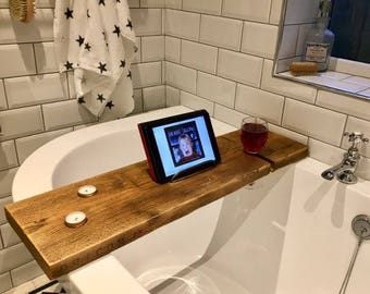 Rustic Wooden Bath Caddy - Bath Shelf - Bath Tray - Scaffold Board