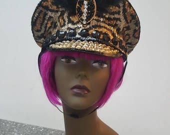 Captains Hat Military Hat Festival Hat Bespoke Hat Handmade Hat Embelished Hat Customised Hat Burning Man Hat Leopard print Hat Sequined