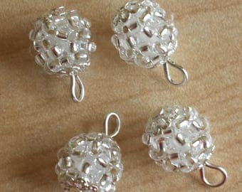 4 pendants (2mm) seed beads transparent silver lined