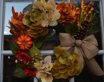 Fall Front Door  Wreath with a Burlap Bow Table Centerpiece