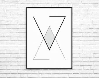 Geometric Triangles Print, Printable Art, Digital Print, Wall Art, Home Decor, Modern Decor, Scandinavian Poster, Geometric Art Printable