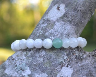 Moonstone Bracelet with Aventurine Accent