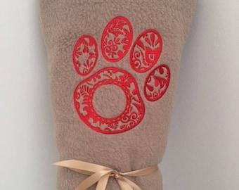 Dog Fleece Embroidered Blanket