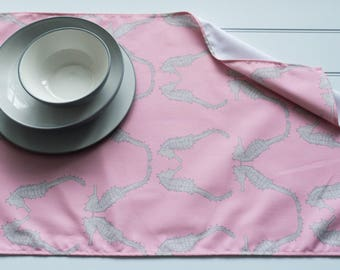 Tea Towel Made from 100% Cotton in Seahorse Salmon Pattern