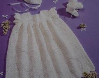 Baby Crochet Dress, Bonnet And Bootees, Christening Dress, Crochet Pattern. Instant Download.