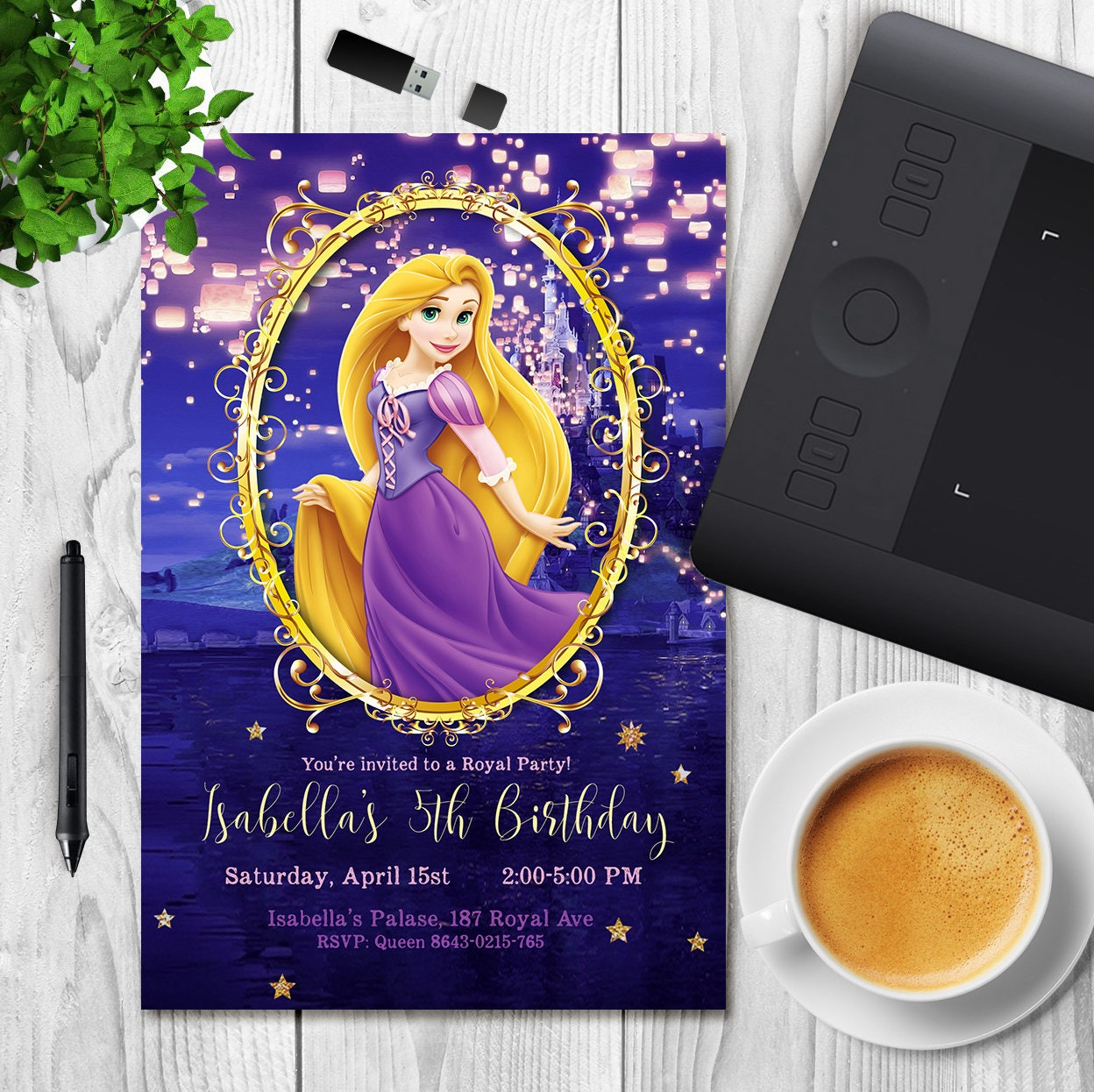 Tangled Birthday Invitation Rapunzel Invitation Rapunzel Party