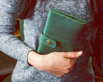 Leather wallet woman Travel wallet passport cover Travel wallet mobile phone Women's long wallet Handmade Wallet card holder