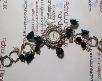 Bracelet WristWatch Blue Roses ~ AstraLuna Bijoux