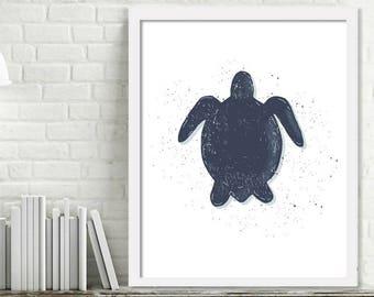 Printable Turtle Wall Art, Kids Ocean Room Decor, Ocean Nursery Wall Art, Turtle Print Digital Download Picture