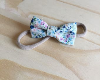 Headband bow blue flowers