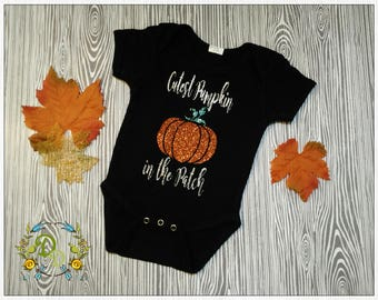 Glitter Pumpkin ONESIE®, Halloween Onesie, Halloween shirt, Fall Onesie, Fall shirt, Fall onesie, Custom Pumpkin Onesie, Glitter, Baby girl