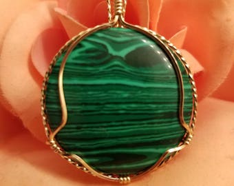 Malachite pendant wrapped in 14K Gold Filled