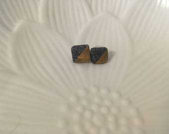 Gold and granite polymer clay studs