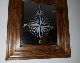 Compass Rose etched mirror