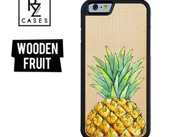 Wooden Phone Case, Pineapple Phone Case, Wooden iphone Case, Fruit Phone Case, iPhone 7, iphone 6, Pineapple iphone, Gift for Her, iPhone 6s
