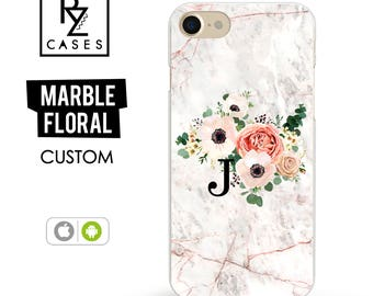 Rose Marble Phone Case, Initial Marble iPhone 7 Case, Floral Marble Case, Personalized Gift for Her, iPhone 7 Plus, Floral, iPhone 6, Floral