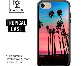 Tropical phone case, Palm Trees Case, Tropical iPhone 7 Case, Summer Case, Tropical iPhone 6, iPhone 7 Plus, Rubber, Bumper Case