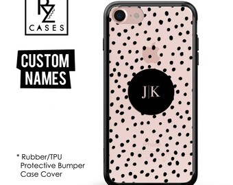 Custom Phone Case, Geometric, Personalized Case, iPhone 7, iphone , 6s, Personalized Gift for Her, Custom Name, Dot, Rubber, Bumper