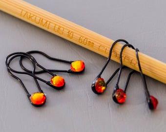 Fiery Black Stitch Markers | Set of 6 locking stitch markers