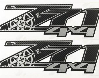 Z71 4X4 Expedition Chevy Decals Stickers Truck Silverado Vinyl Decal Sticker Black Carbon Fiber 3M