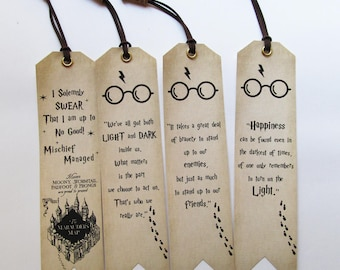 Handmade Harry Potter Bookmarks Set of 4 quotes  Bookmarks With bead Book lovers Gift Idea, Unique Christmas Gift for friends