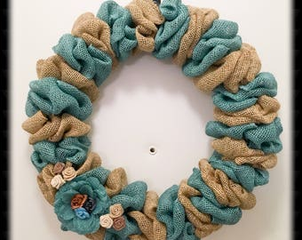 Teal Burlap Wreath