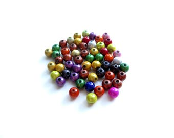 50 PC wood beads 6mm multicolored magical