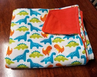Dinosaur Flannel Toddler Blanket