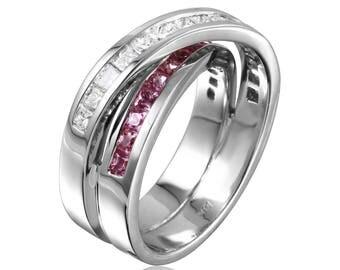 Women's Pink Sapphire and Diamond Ring