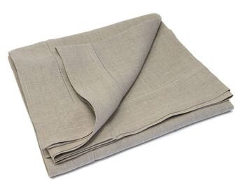 100% Linen Tablecloth Hemstitched, Natural Linen, Linen Dining Room, 2  Sizes Available