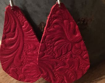 Red textured leather earrings