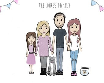 Custom cartoon family portrait