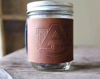 The Officially Licensed Auburn Bootlegger Custom Mason Jar Leather Jar Wrap