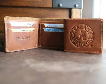 The Officially Licensed Crimson Tide Big Dixie Fine Leather BiFold Wallet