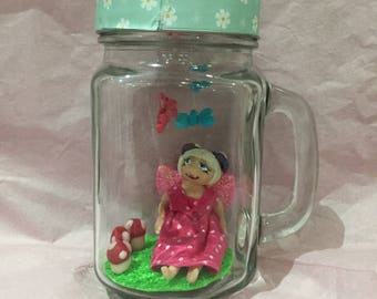 Celia the Flower Fairy in Glass Jar